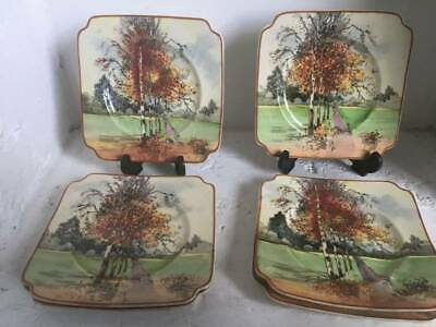royal doulton series ware autumn glory side plates x 6 signed ck noke 1930s