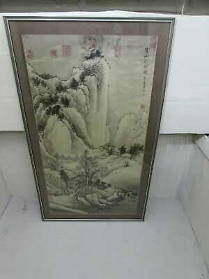 Antique Chinese Scroll Painting on Rice Paper of Figures in Landscape