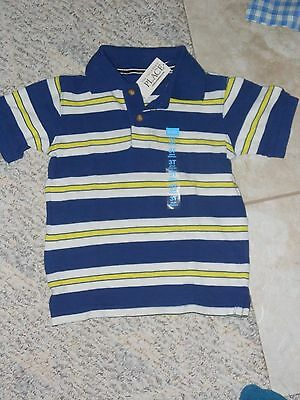 NWT - Childrens Place short sleeved blue, yellow & white polo shirt - 9-12 mos