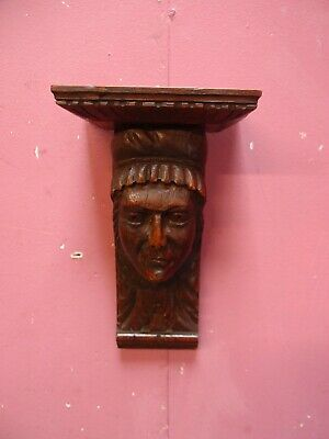 Small Antique Carved Oak Wall Bracket