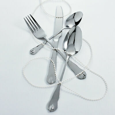 4-Piece Reflective Silver Flatware Set Service For 1