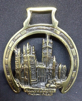 Vintage Horse Brass Canterbury Cathedral Horse Shoe Decorative Wall Plaque