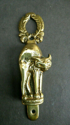 Antique Vintage Brass Door Knocker Manx Cat Witches Scary Cat Original Goth