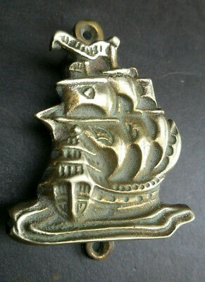 Vintage Brass Door Knocker Galleon Ship Nautical Original Salvage Reclaimed