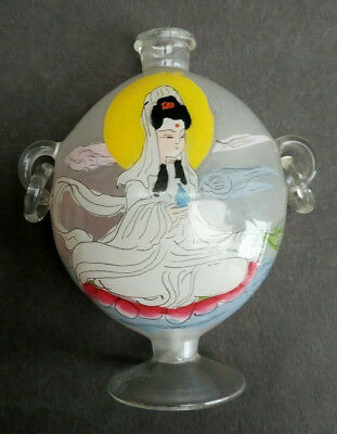 Vintage Antique Scent Perfume Snuff Bottle Reverse Painted Chinese Crane Geisha