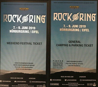 Rock am Ring 2019 weekend Festival Ticket und General Camping und Parking Ticket
