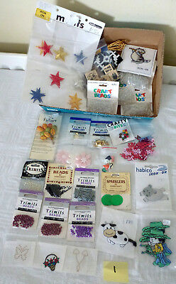 JOB LOT 1 Card Scrapbook Craft Making Items inc Ink Stamps Iron On Patches Beads