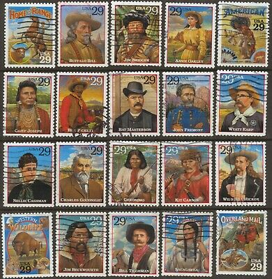 Scott #2869 a-t Used Set of 20, Legends of the West