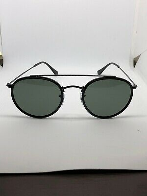 2023e74313d50 RAY-BAN ROUND DOUBLE Bridge RB3647N 002 58 Sunglasses Black Green ...