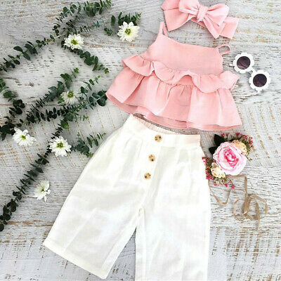 3PC Cute Infant Baby Girls Kids Straps Ruffle Tops T-Shirt+Pants+Headband Outfit