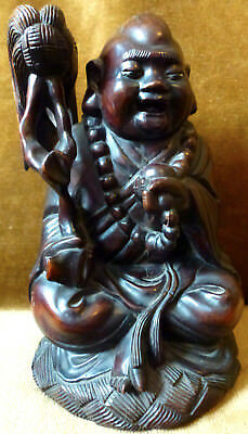 """Antique Vintage Chinese Carved Rosewood Ho Tai Prosperity Statue 7.5"""" 19cm"""