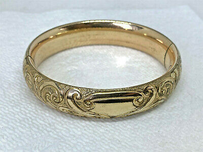 """Antique Deeply Carved Victorian Gold-Tone Bangle, 7.25"""""""