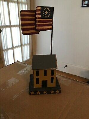 Country Primitive Patriotic Americana House Wood With Flag