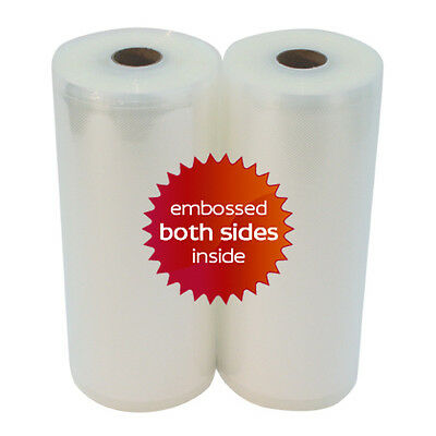 """TWO 8"""" x 50' Universal Vacuum Seal Rolls - For FoodSaver Best Quality in USA!"""