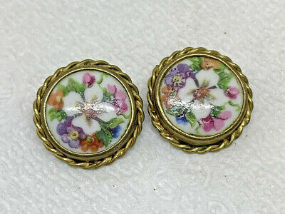 Pair of Antique Hand-Painted Limoges France Porcelain & Brass Clip Earrings