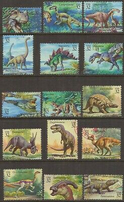 Scott #3136 a-o Used Set of 15, World of Dinosaurs