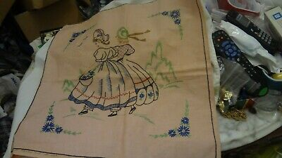 Vintage LADY LADIES Finished Cross Stitch Hand Sewn Embroidery Pillow ANTIQUE