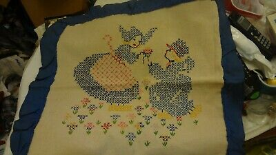 Vintage LADY BOY Finished Cross Stitch Hand Sewn Embroidery Pillow ANTIQUE