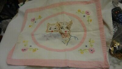 Vintage CAT DOG Finished Cross Stitch Hand Sewn Embroidery Pillow ANTIQUE
