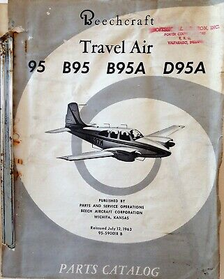 BEECHCRAFT TRAVEL AIR Model 95 Parts Catalog, 1963, Part No  95-590018 B