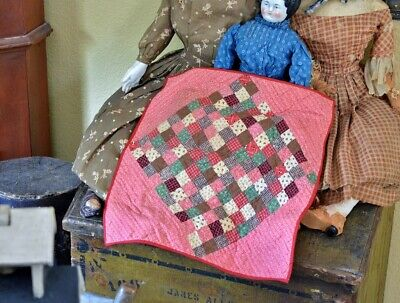 Antique Hand Stitched Postage Stamp Doll Quilt AAFA *