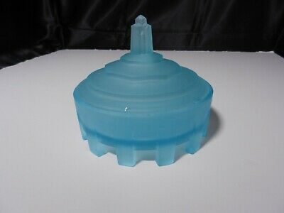 "Taussaunt Glass Obelisk Covered Powder Box Frosted Blue Satin 4 3/4"" T ca 1920's"