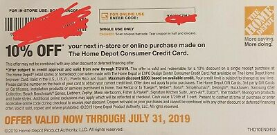 Home Depot $200 Coupon 10% Off In Store OR online. EXP. 07/31/2019 Fast Shipping