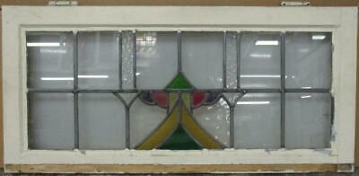 "OLD ENGLISH LEADED STAINED GLASS WINDOW TRANSOM Stunning Abstract 33"" x 15.5"""