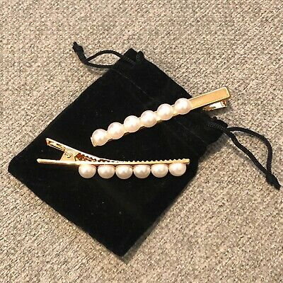 PAIR OF TWO Stackable Trendy Faux Pearl Hair Clips