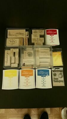 Large lot of 38 mixed rubber stamps plus 4 Stampin' pads Very good & clean cond.