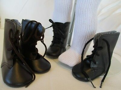 "Lace Up Historic Brown Black Doll Boots & Socks fit your 18"" American Girl Doll"