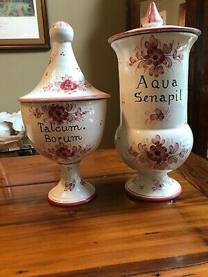 Pair Of Antique Vtg Medical Ceramic Apothecary Medicine Jars Hand Painted Pink