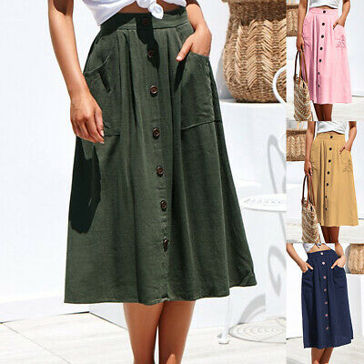 Stretch Waist Faux Button Cotton Blend Casual Skirt Summer Midi Dress Pockets