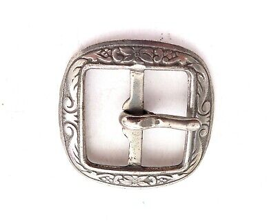 Vintage Antique Silver Plated Small Ornate Flower Belt Buckle* Fancy Floral desi