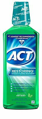 ACT Restoring Anticavity Fluoride Mint Burst Mouthwash 18 Ounce
