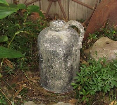 Primitive Antique Vtg Style Old Tyme Gray Acid JUG Stoneware GARDEN CROCK