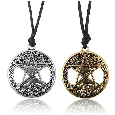 Womens Round Hollow Celtic Knot Tree Star Pendant Adjustable Black Rope Necklace