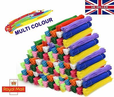 """Pipe Cleaners Chenille Craft Stems 30cm 12"""" Bristle Bundles assorted Pack UK New"""