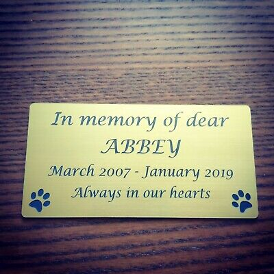 Personalised Pet Memorial Plaque Dog Cat Animal Engraved 120 X 60 mm ,Any pet