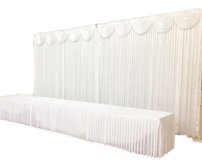 WHITE Ice Silk Satin Wedding Backdrop Curtain & FREE Swag 6mx3m Venue Decoration