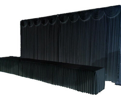 BLACK Ice Silk Satin Wedding Backdrop Curtain & FREE Swag 6mx3m Venue Decoration