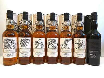 Game of Thrones Scotch Whisky Full Australian Set of 7 Bottles. FREE SHIPPING