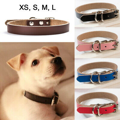 Real Leather Dog Collar Pet Cat Puppy Black Brown Red  Pink S M L Metal Buckle