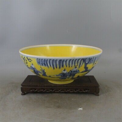 "11"" Chinese antique Porcelain Ming chenghua mark yellow blue white Children bowl"