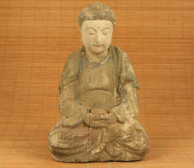 big antique old wood hand carved buddha monk statue figure collect blessing gift