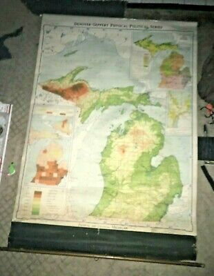 Denoyer-Geppert Co.1942 J121rp Political and Geographic map Michigan