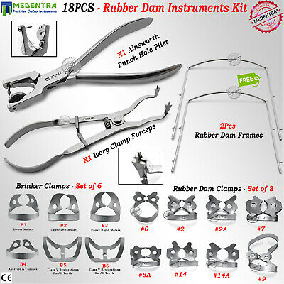 Rubber Dam Premium Tools Kit of 18 Ivory Clamps Forceps Ainsworth Endo Clamps CE