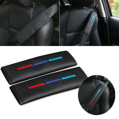 2 PCS Leather Style Trucks Cars Seat Belt Covers Shoulder Pad For BMW //M Sport