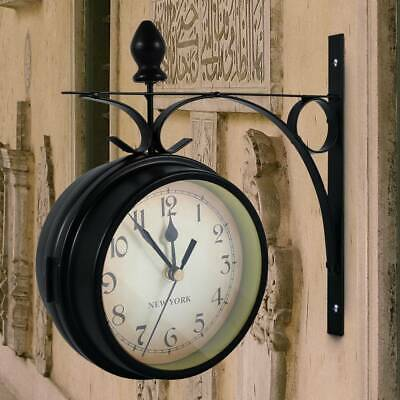 UK Outdoor Garden Gentral Station Wall Clock Rotate Double Sided Bracket