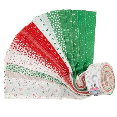 Quilting Fabric Jelly Roll - Red Dot Green Dash - Me And My Sister  -  X 40